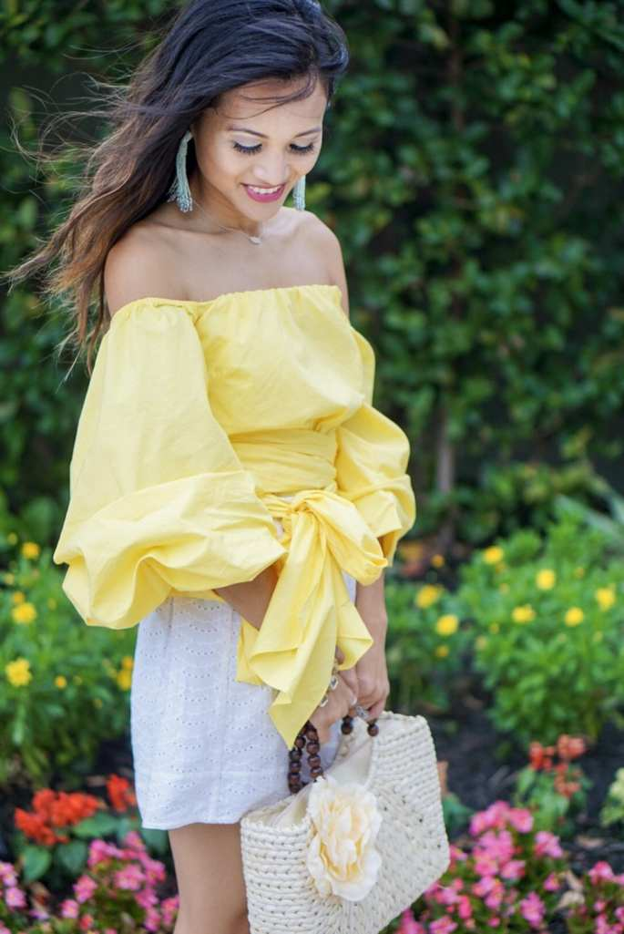 yellow off the shoulder wrap top, bow tie blouse, charming charlie, tassel earrings