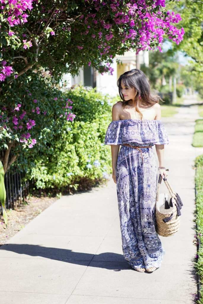 off the shoulder dress, maxi dress, straw bag