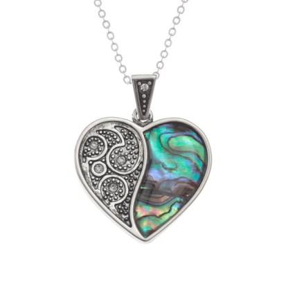 Tide Jewellery Inlaid Paua Shell & Diamante Heart Necklace in a Box