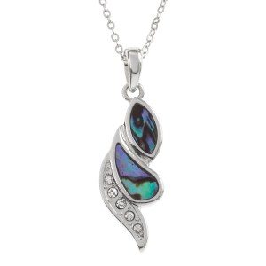 Tide Jewellery inlaid Paua shell diamante strip swirl pendant with inset glass stones, on 18″ trace chain