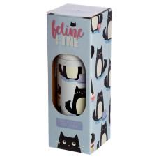 Funky 350ml Flask - Feline Fine Cat Design