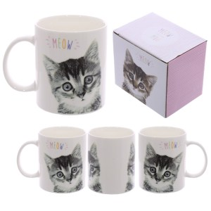 Fun Porcelain Mug - MEOW Cute Kitten Design