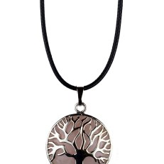 Pendant Tree Of Life Rose Quartz Stone In Cage 30mm On Cord