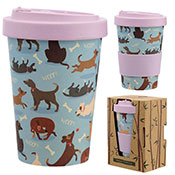 CATCH PATCH DOG REUSABLE SCREW TOP BAMBOO TRAVEL CUP