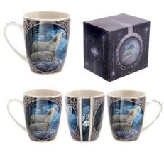 Fantasy Howling Wolf Design Porcelain Mug