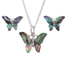 "Tide Jewellery inlaid Paua shell butterfly pendant on 18"" trace chain and matching stud earring set"