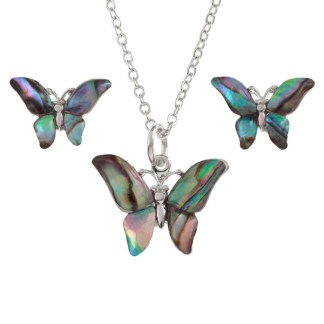 """Tide Jewellery inlaid Paua shell butterfly pendant on 18"""" trace chain and matching stud earring set"""