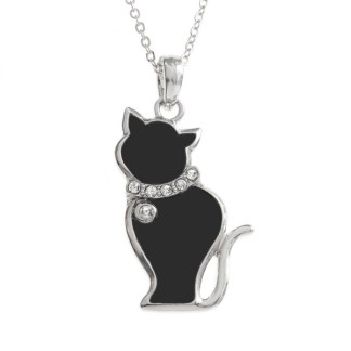 Tide Jewellery inlaid black enamel cat pendant with inset stones collar