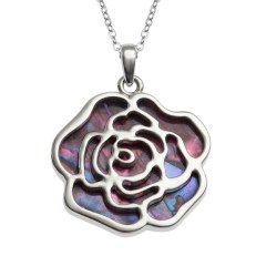 Tide Jewellery inlaid pink Paua shell rose pendant