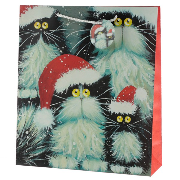 Kim Haskins Cats Design Extra Large Christmas Gift Bag