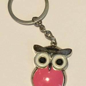 Pink Enamel Owl Design Keyring