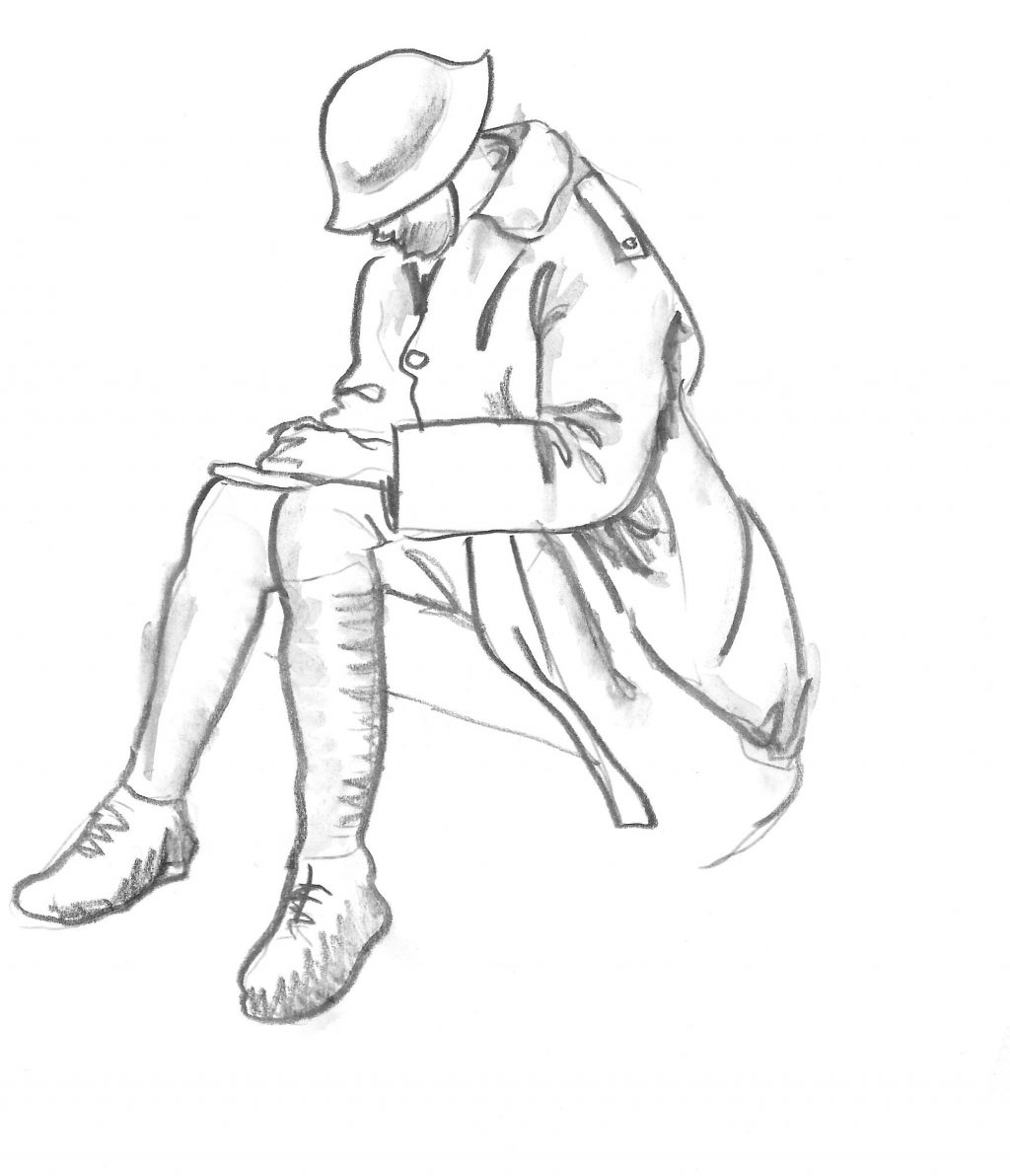 Soldier writing diary