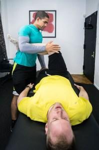 Javier Garza performing piriformis stretch