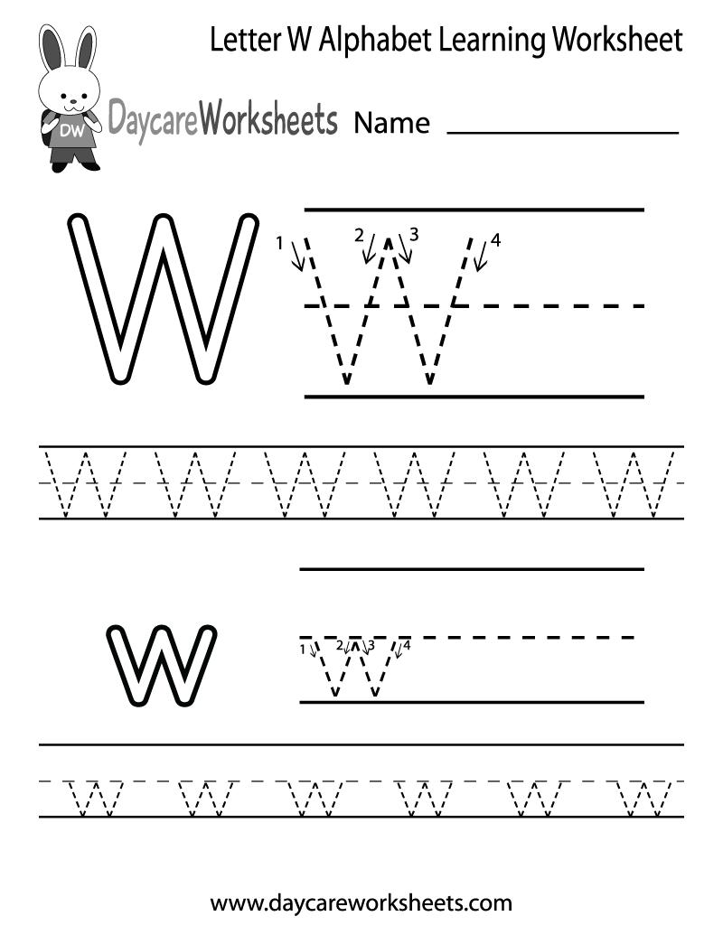 Free Letter W Alphabet Learning Worksheet For Preschool