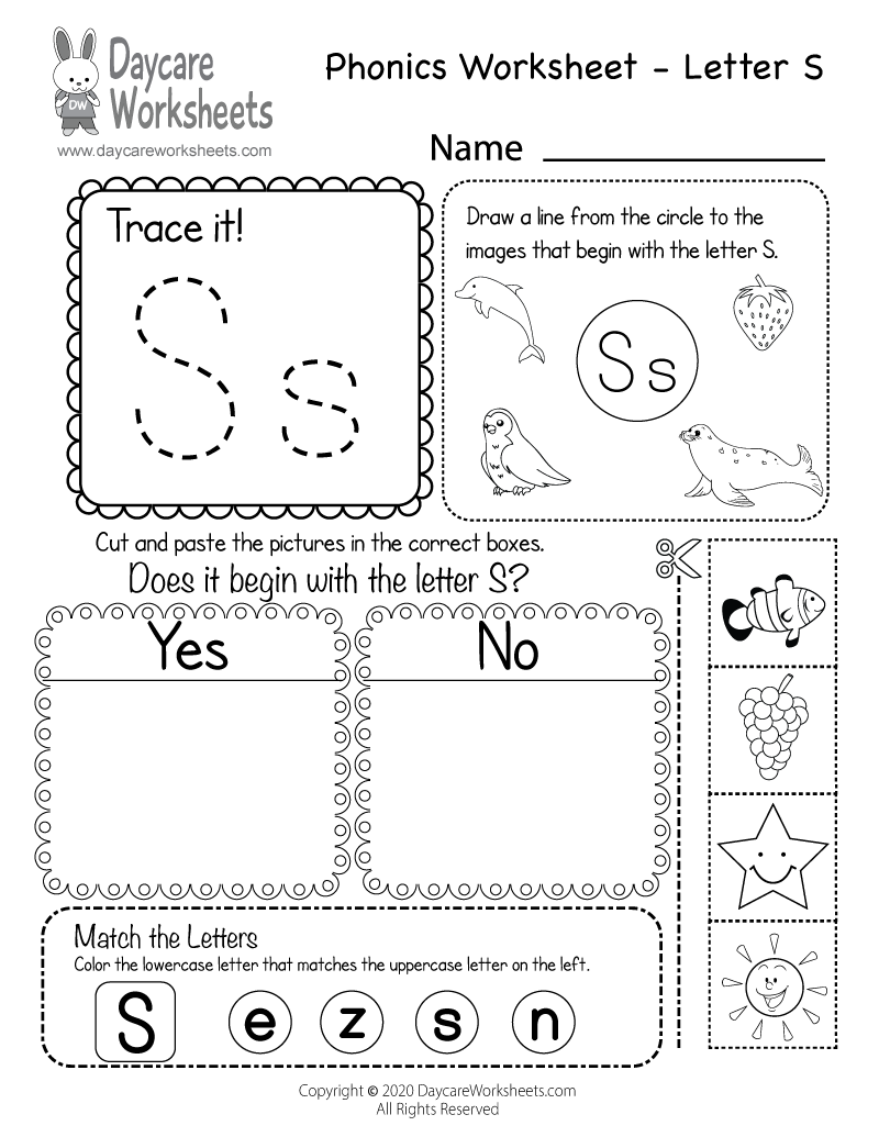 Free Printable Letter S Beginning Sounds Phonics Worksheet For Preschool