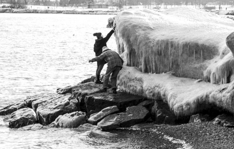 Silly people trying to 'climb' the iceberg, Kew Beach