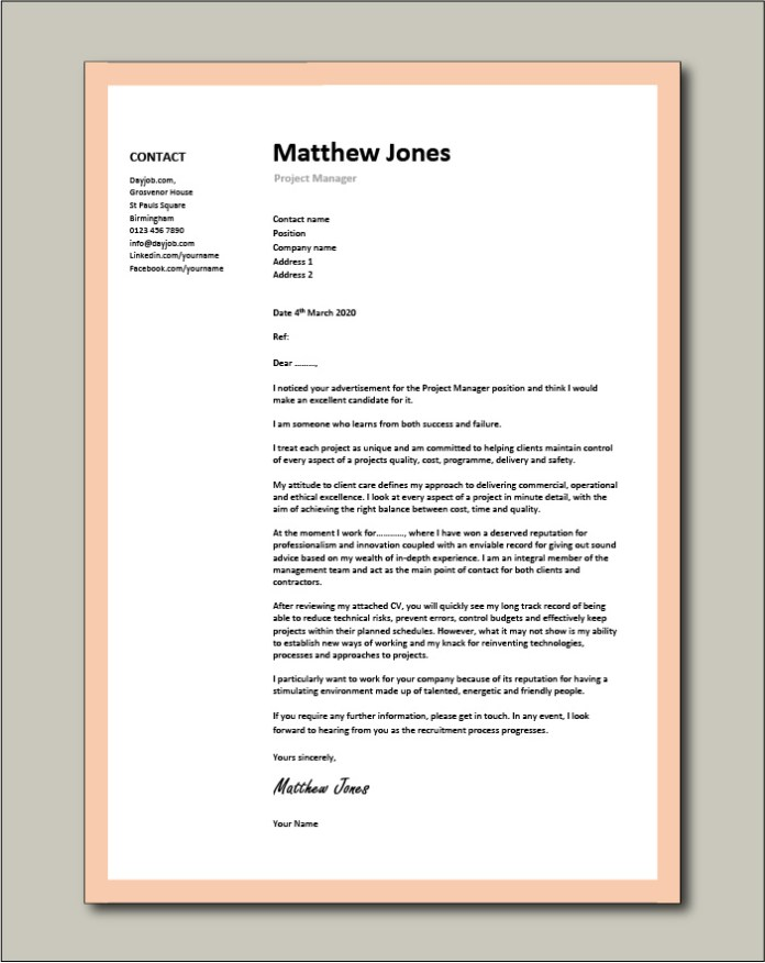 Project Manager Cover Letter Sample Vacancy Application Project Management Cv
