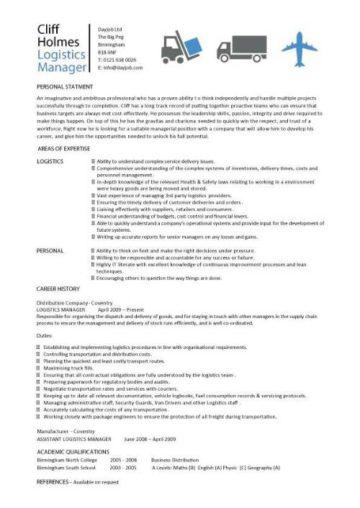 Logistics Manager Resume Templates Cv Job Description Samples Transport Supply Chain Work