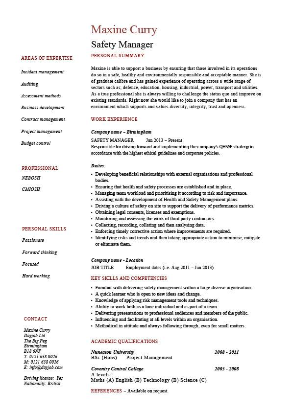Safety Manager Resume Sample Example