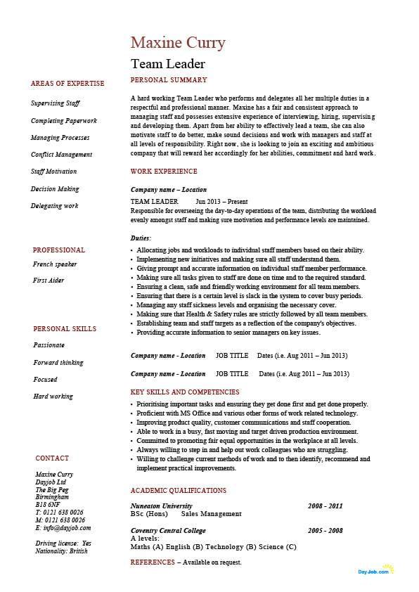 Team Leader Resume Supervisor Cv Example Template