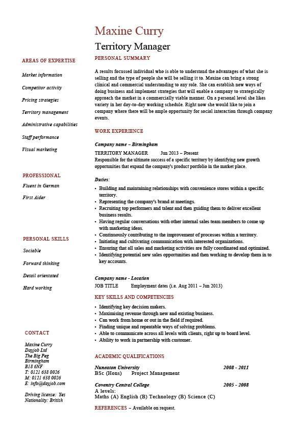 Territory Manager Resume Regional Job