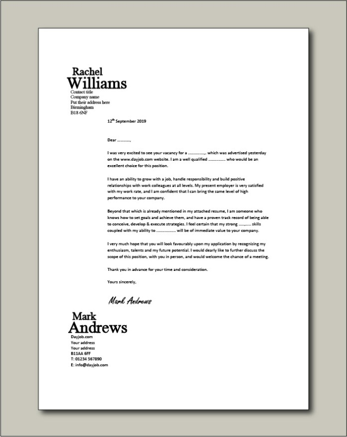 Cover Letter Examples For Different Job Roles In 2021 Dayjob