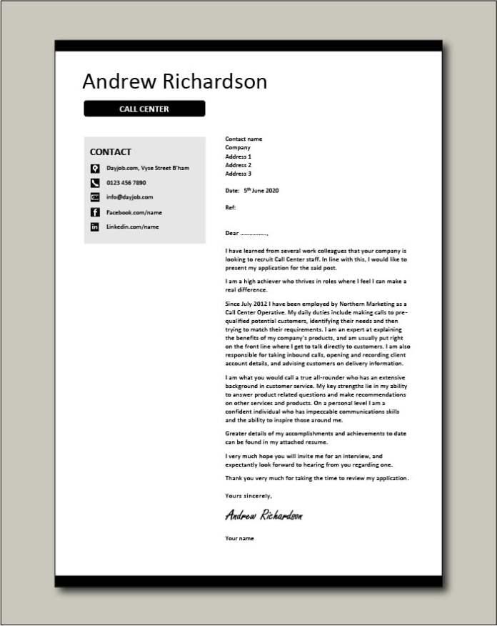 Call Center Cover Letter Example Centre Samples Representative Operator Cv Job Application