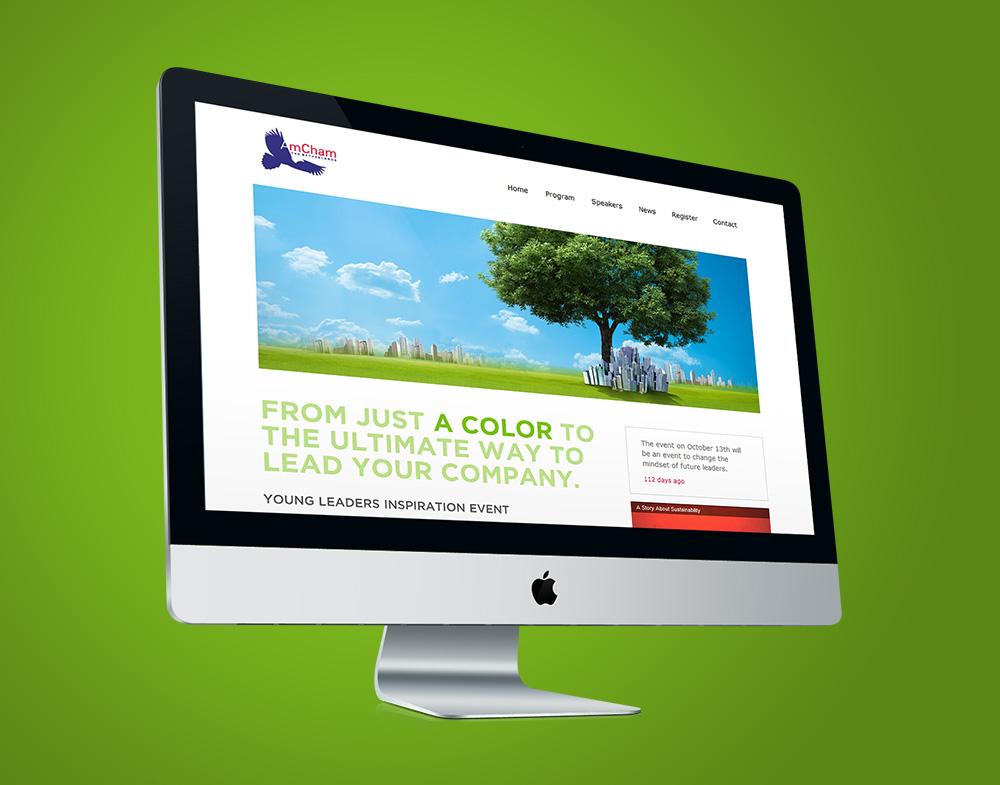 AmCham webdesign homepage green event