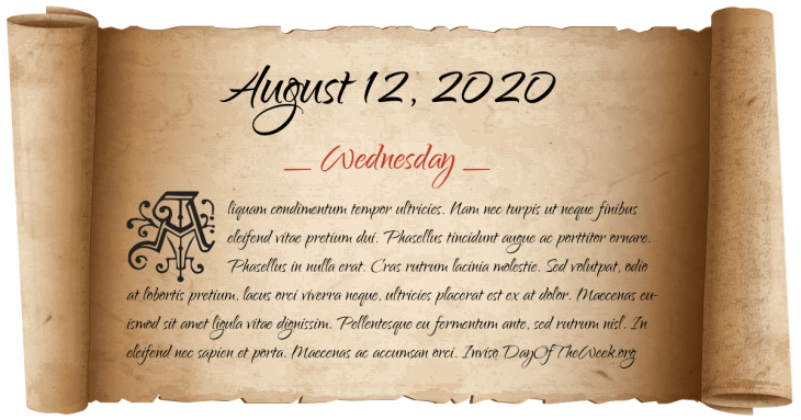 what day of the week was august 12 2020