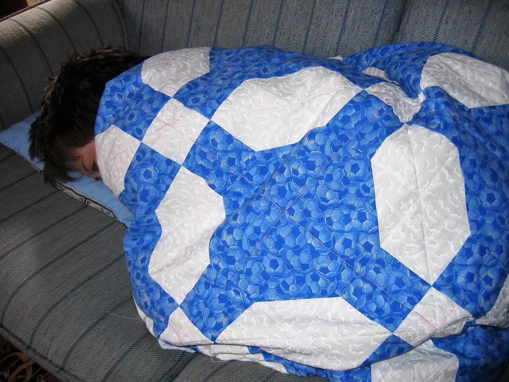 Blue Snowball Quilt