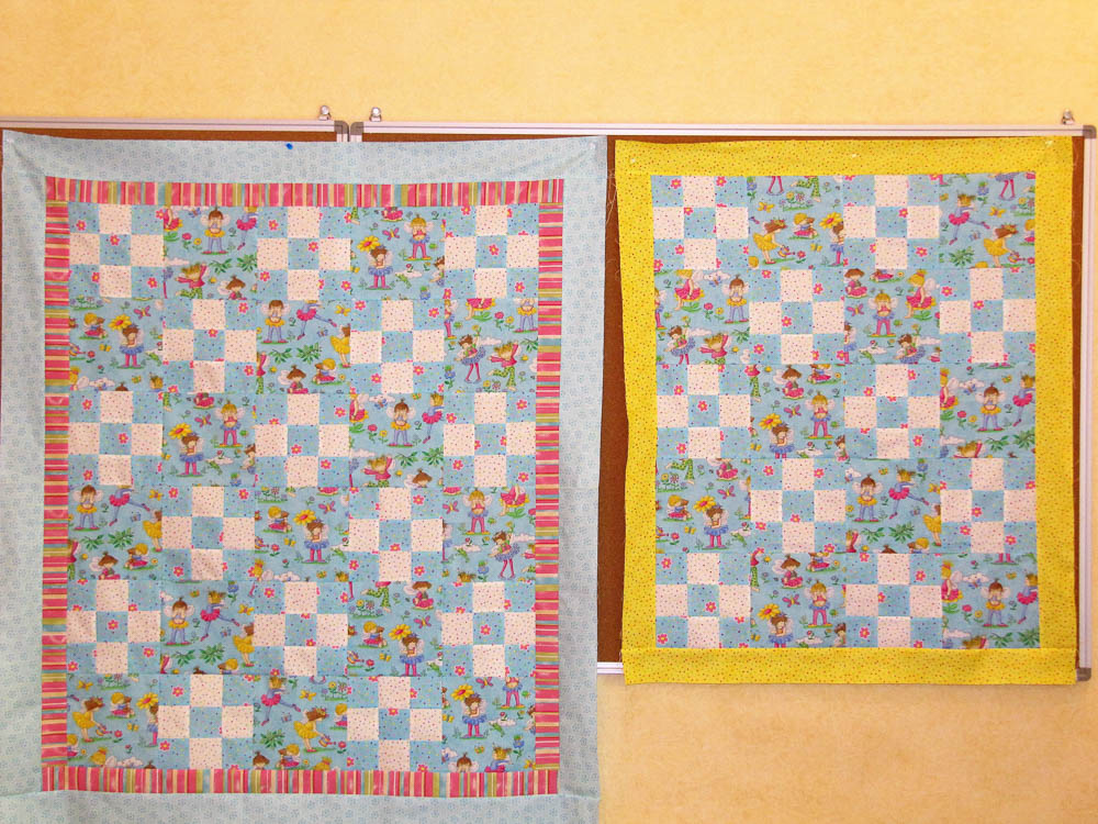 Cute baby quilts with new fabric for the shop. .Uses feature fabric with a nine patch inbetween.