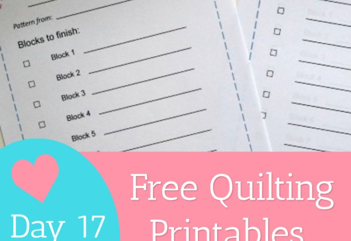 Day 17 – Free Quilting Printables