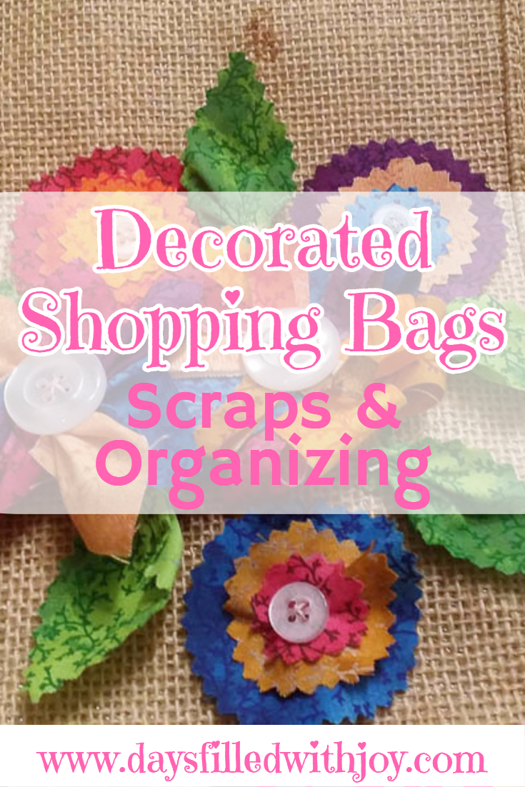 Decorate shopping bags with flowers made of fabric scraps