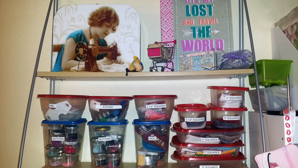 organizing fabric scraps, buttons and other notions