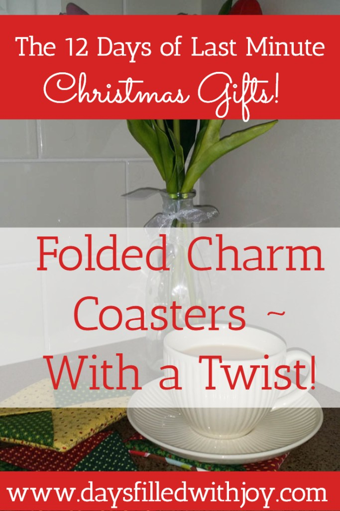 Folded Charm Coasters - with a twist! Tutorial shows you how to use 5 charm squares to make these coasters by folding the charms in half on the diagonal...