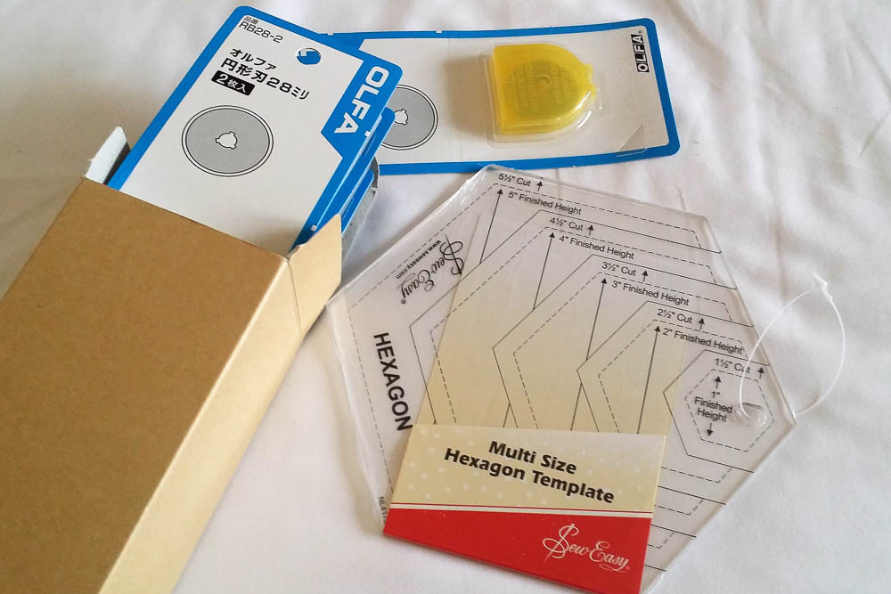 Hexagon ruler and rotary cutter refill blades