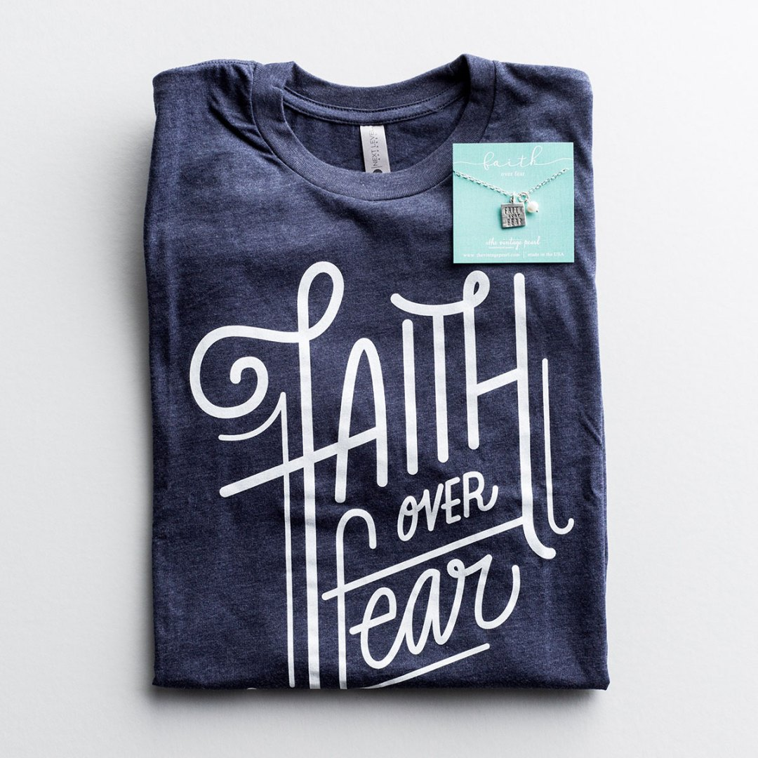 Faith Over Fear Necklace & Tee Gift Set