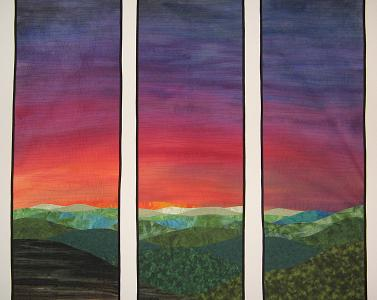 Hand Painted Sunrise Landscape Quilt