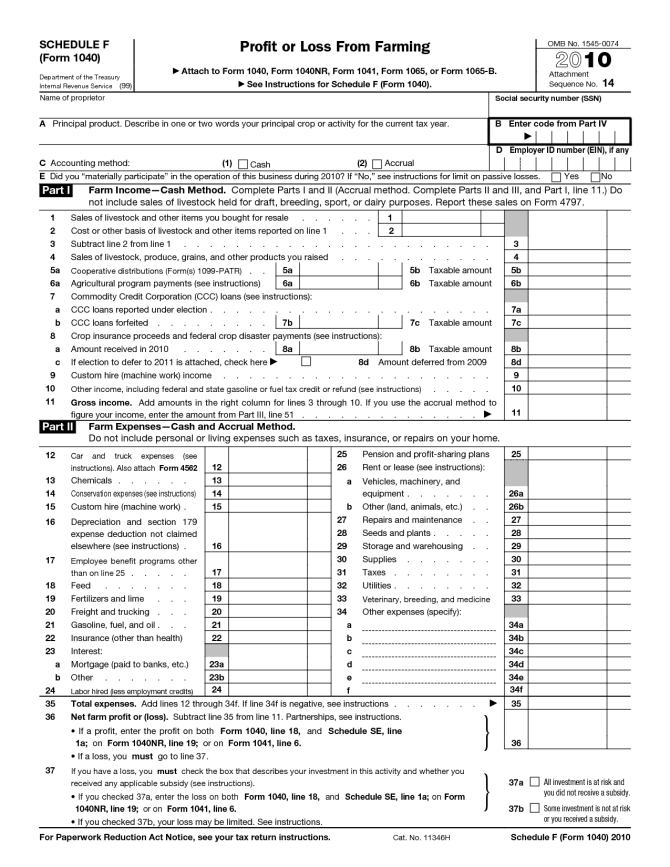 Form 1040 - Schedule F