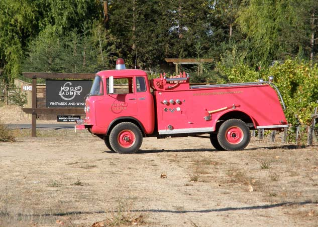 Anybody who can incorporate a real firetruck into their winery sign is ok in my book
