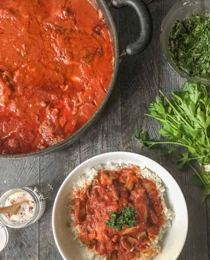 Rick's Classic Chicken Cacciatore - a hearty Italian hunter's stew.