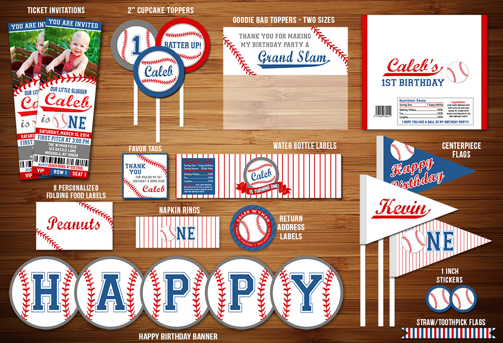 Printable Baseball 1st Birthday Party Package Decorations
