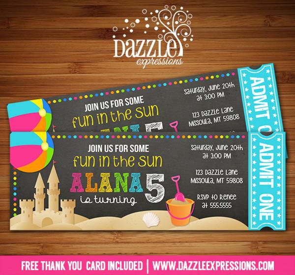 Printable Chalkboard Beach Party Ticket Birthday