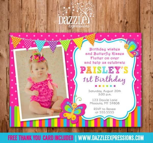 Printable Butterfly Birthday Photo Invitation Girl First