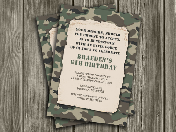 Camouflage Army Birthday Invitation Free Thank You Card Included