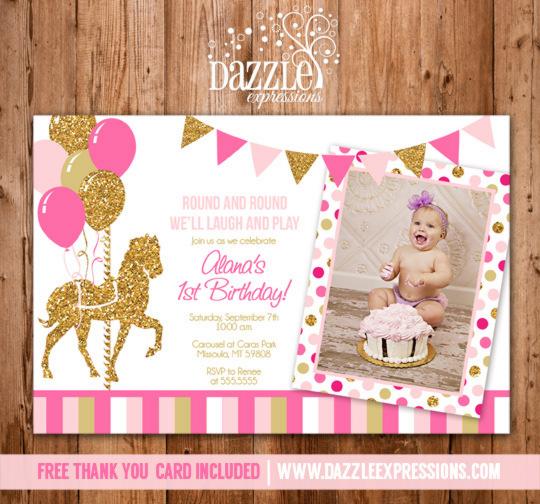 Printable Pink And Gold Carousel Birthday Photo Invitation
