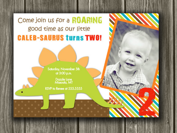 Dinosaur Printable Birthday Photo Invitation Thank You Card