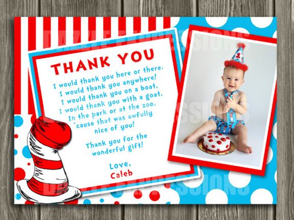 Printable Dr Seuss Inspired Photo Thank You Card Cat In
