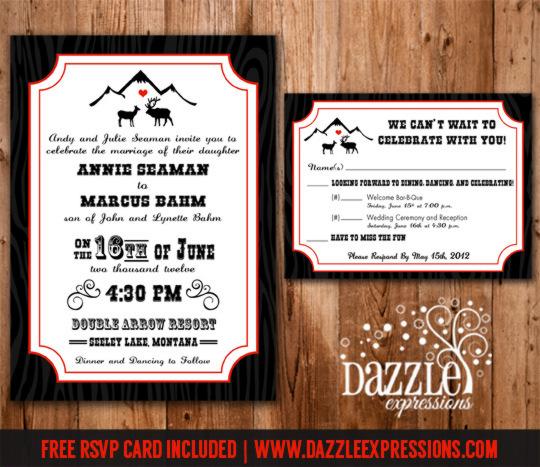 Rustic Elk Love Wedding Invitation RSVP Card Included