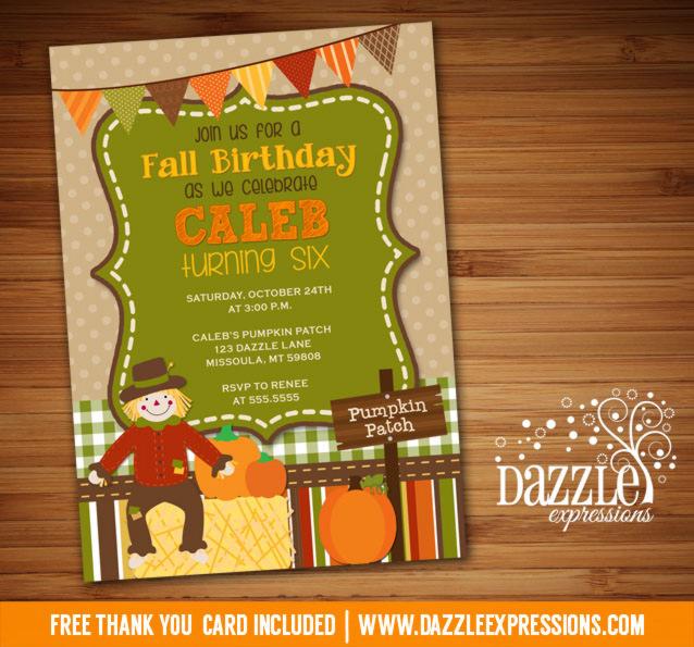 Printable Kids Fall Birthday Invitation Pumpkin Patch